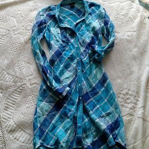 Plaid linen shirt dress